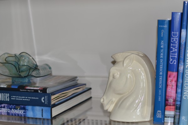 pyrex stacked glass and horsey head