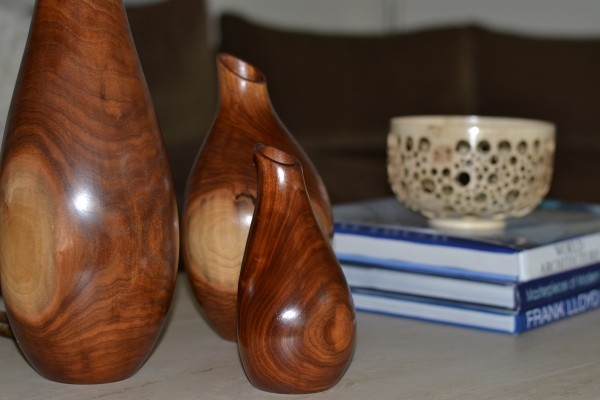 family of three and wood punched bowl
