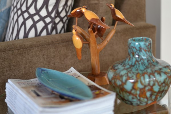 mid-century birdies and local pottery and glass art