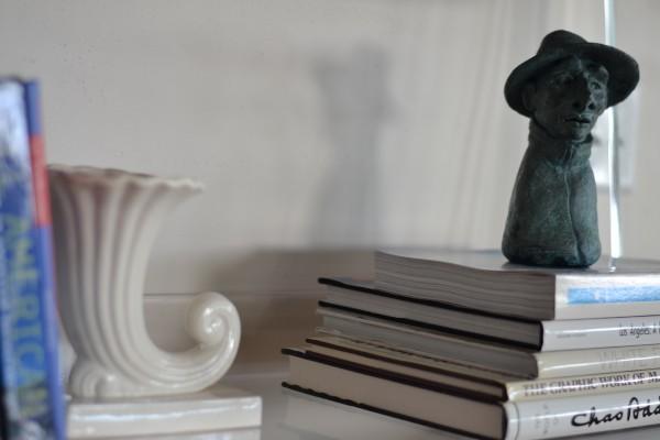 cornucopia vase and local artist bust