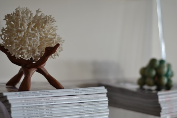 coral on midcentury stand