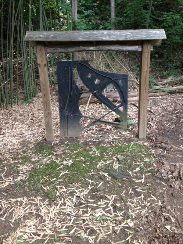 piano insides yard art