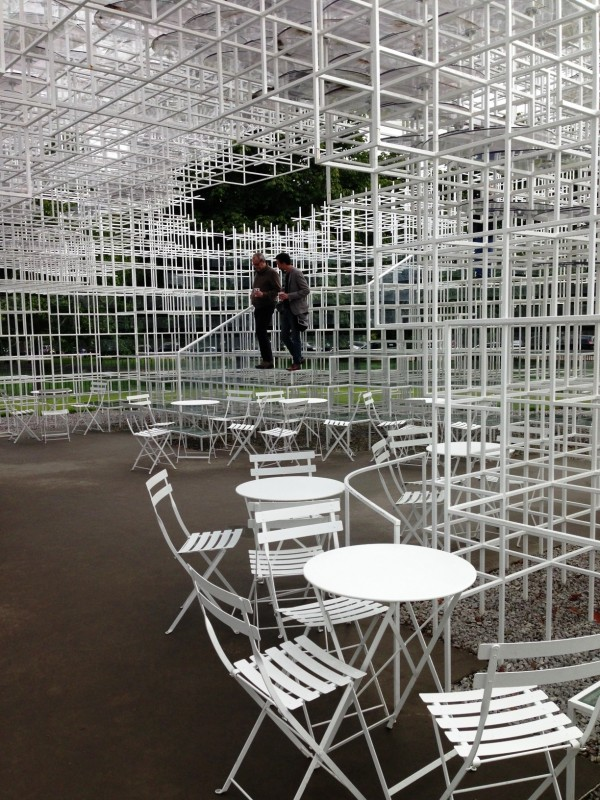 The Pavilion at Serpentine Gallery in Kensington Garden, a temporary climbing art structure with cafe