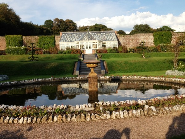 the walled gardens...decorative in front and kitchen garden behind