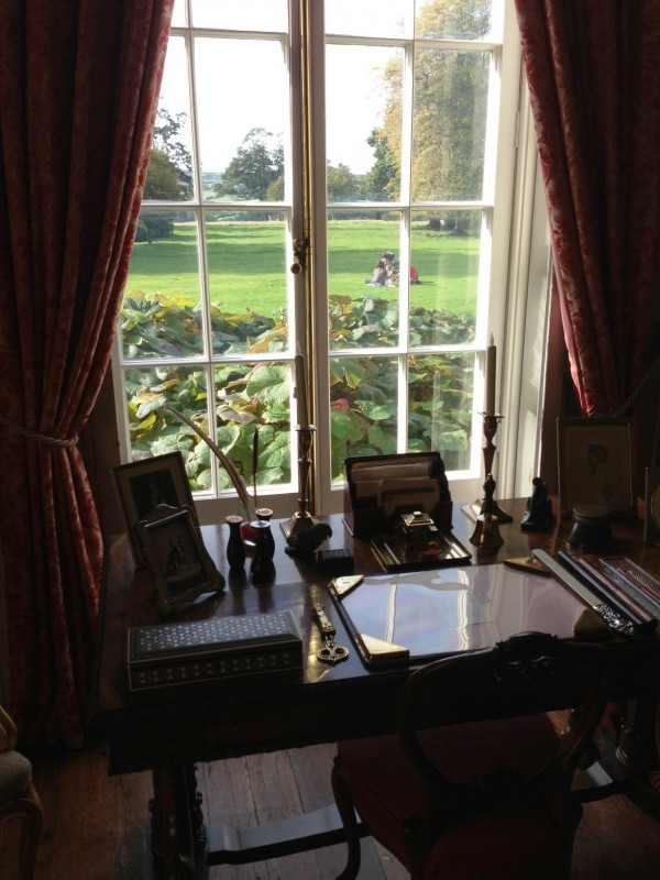 a desk with a view...with Ms. Chichester's personal stationery and other items intact