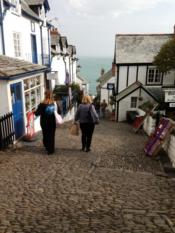 walking down the steep cobbled town