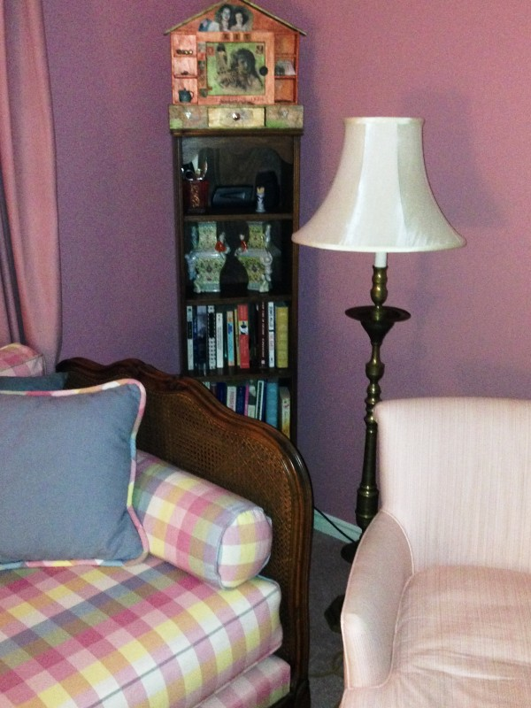 love this diminutive bookcase in a corner of the master, between a French cane daybed and chair