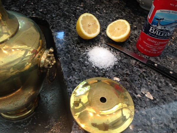 Brass Cleaning with lemon and salt