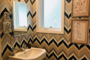 modern bathroom graphic wallpaper