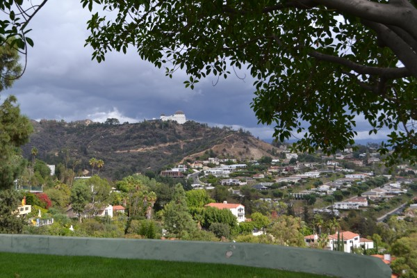 the view from her backyard - Griffith Observatory in the distance