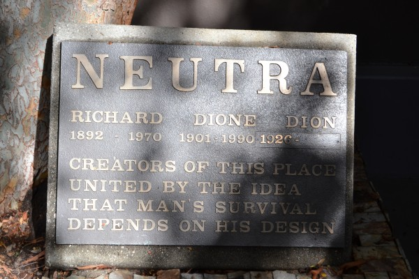 dedication plaque to neutra, his wife and son