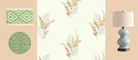 coral floral wallpaper raleigh interior design girl's bedroom