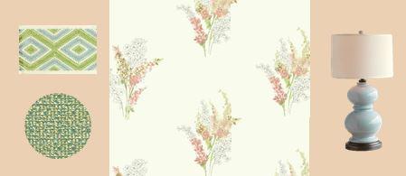 coral floral wallpaper raleigh interior design girl's bedroom
