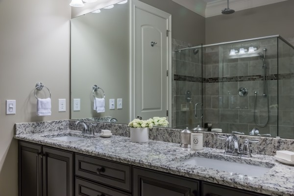 Master bath granite counter tops double sinks