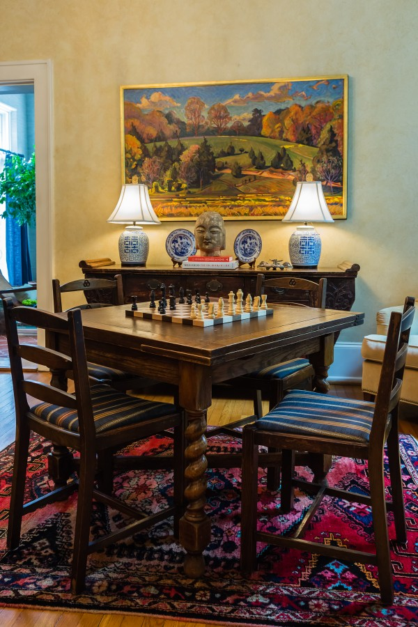 spanish faux painted walls, game table, art, blue and white porcelain