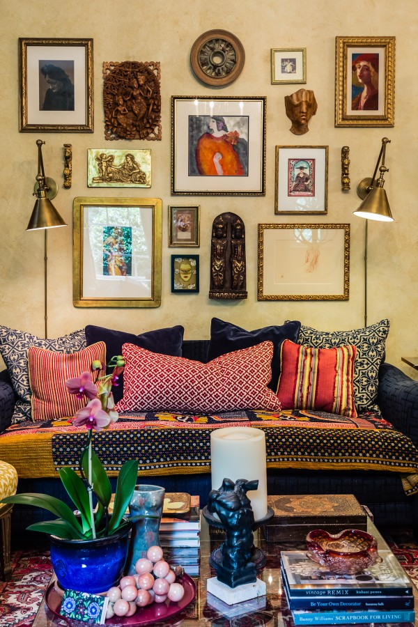 Living Room Bohemian Gallery Wall Red Blue and Yellow