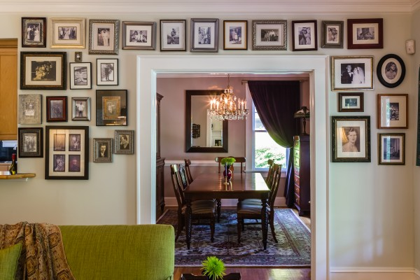 View to Dining Room Black and White Family Photo Gallery Wall
