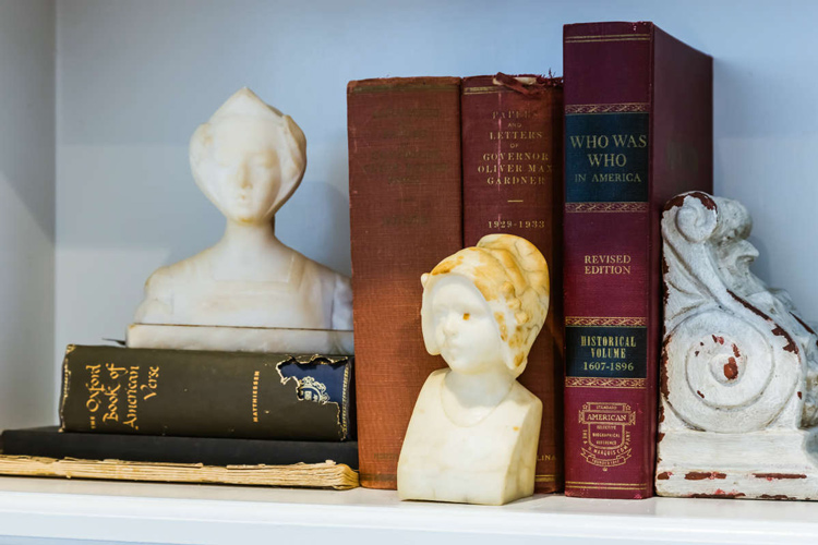 Busts and Books Bookshelf Styling