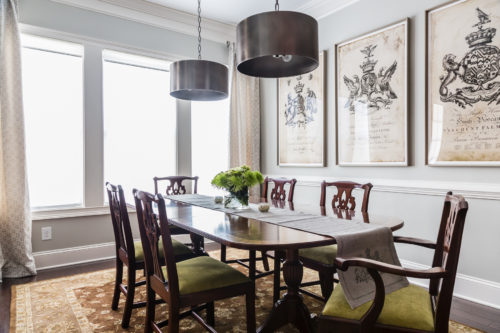 A traditional dining room set gets a facelift with pops of chartreuse