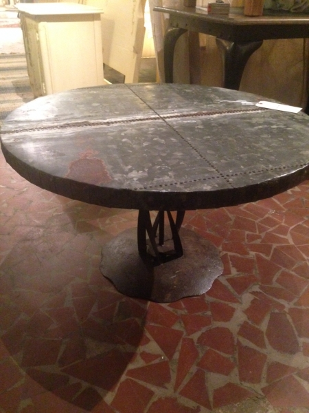 metal industrial galvanized round coffee table   form