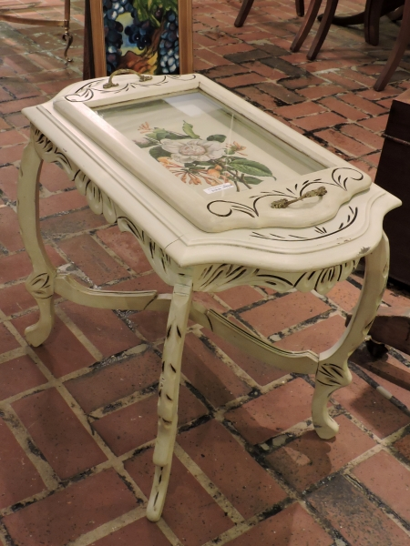 White Shadow Box End Table