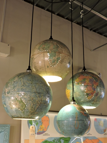 Repurposed-Upcycled Globe Map Hanging Pendant Light