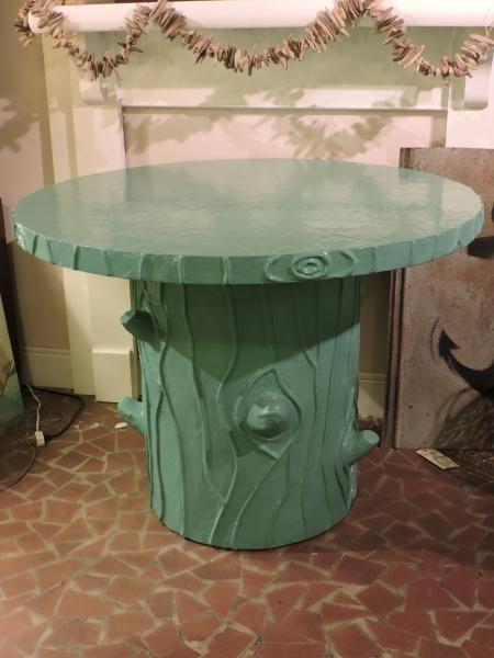 Turquoise Round Pedestal Tree Table