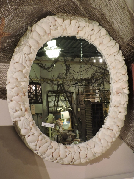 White Oval Shell Mirror
