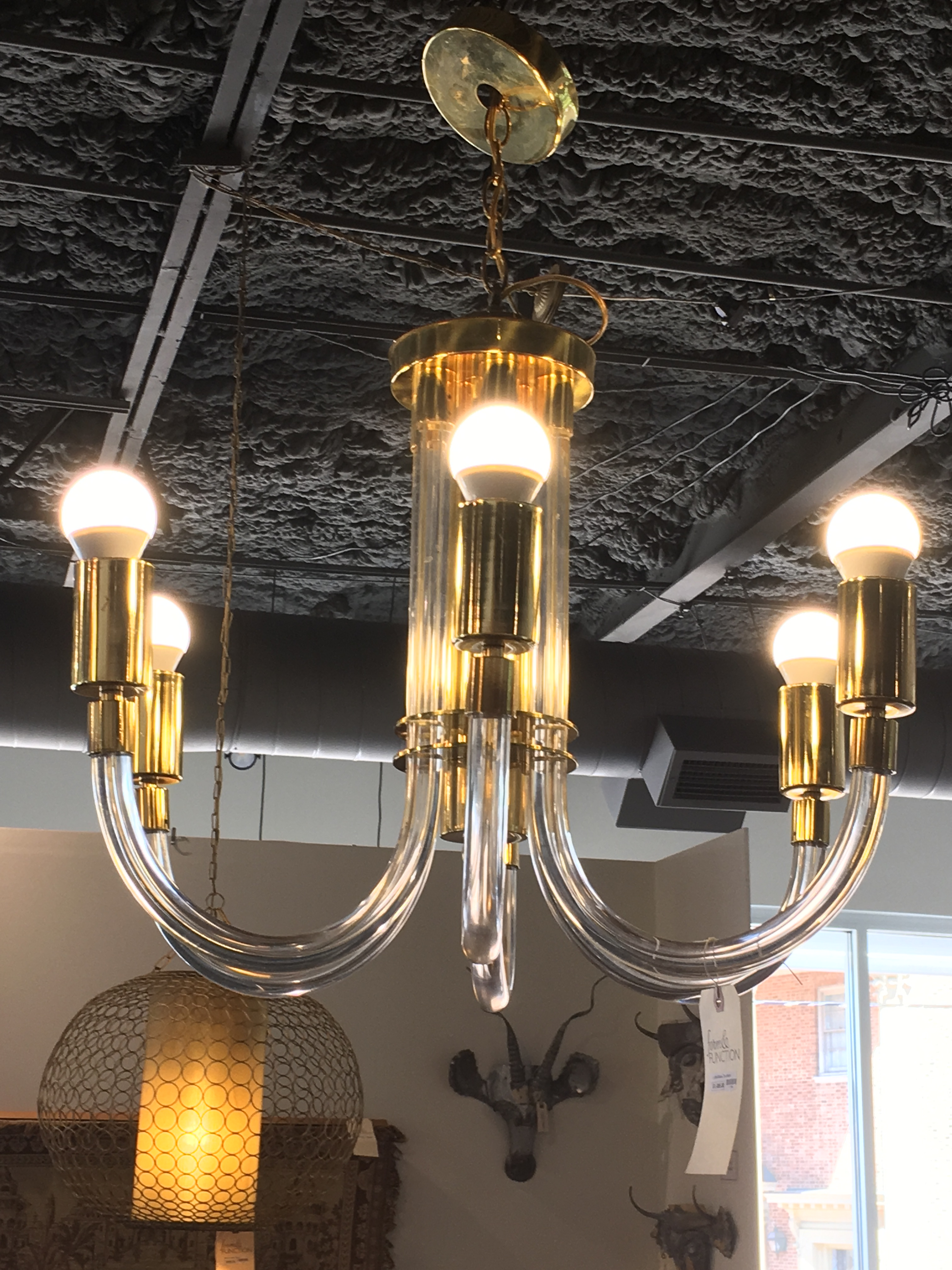 Lucite Brass Chandelier Form & Function