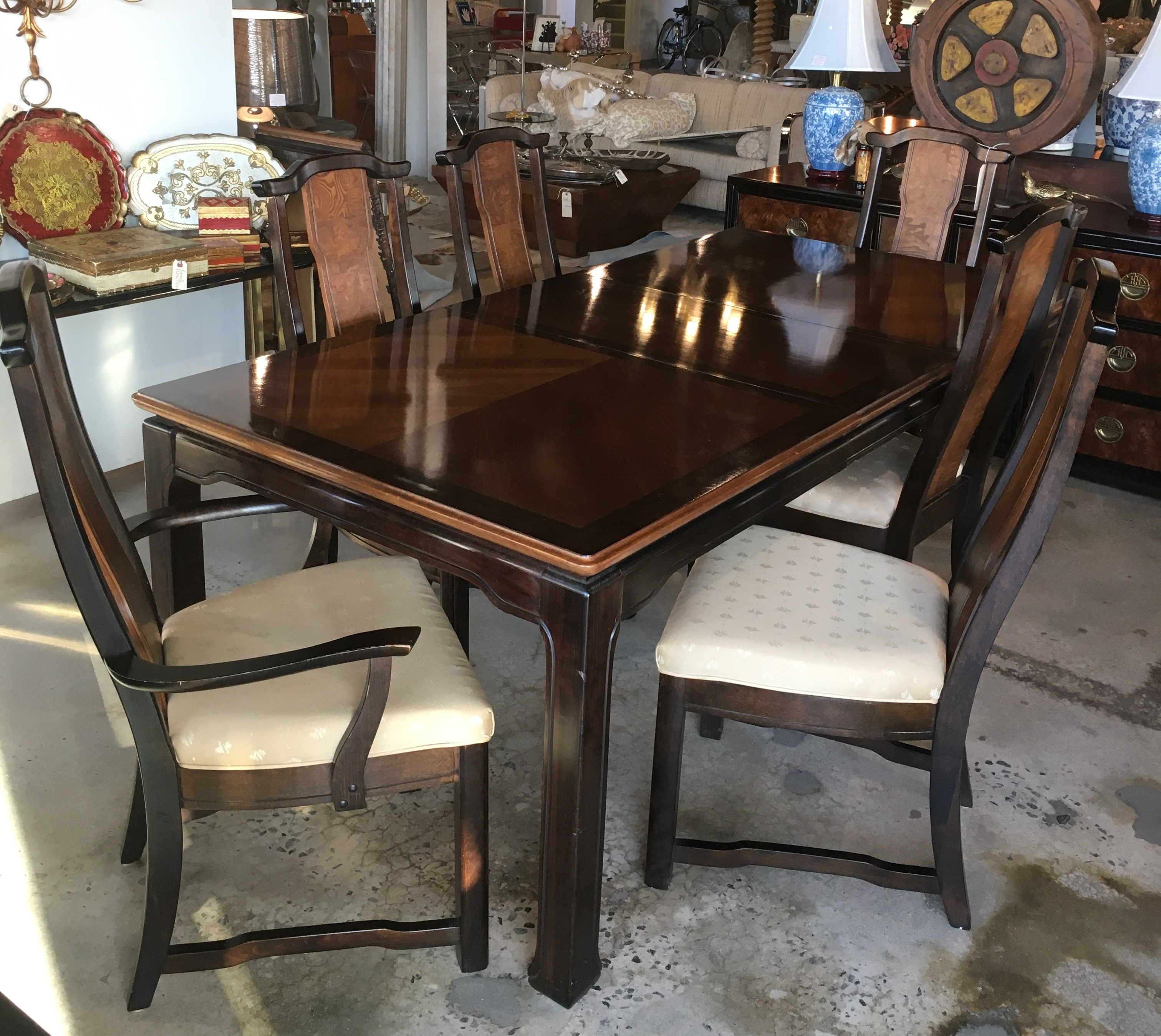 Asian Dining Table with Dining Chairs Set - Form & Function