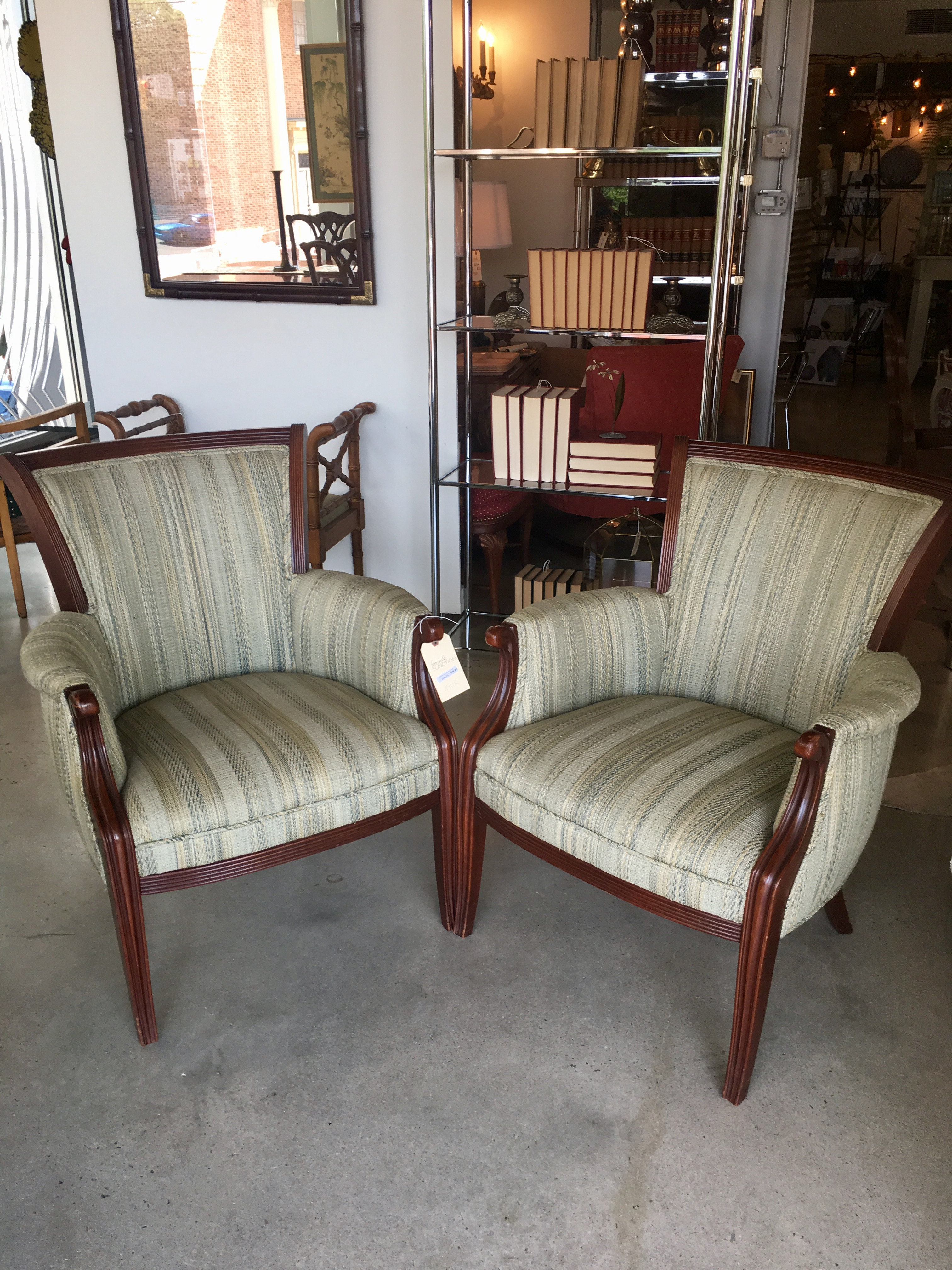 Striped Upholstered Chairs PAIR
