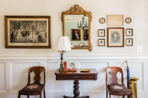 Foyer Styling Antique Furniture and Artwork