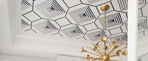 statement wallpaper ceiling