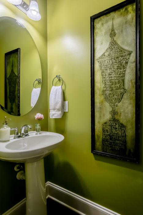 chartreuse green powder room bath bold paint ideas