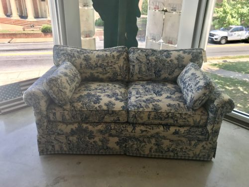 Strange Blue And White Toile Loveseat Form Function Machost Co Dining Chair Design Ideas Machostcouk