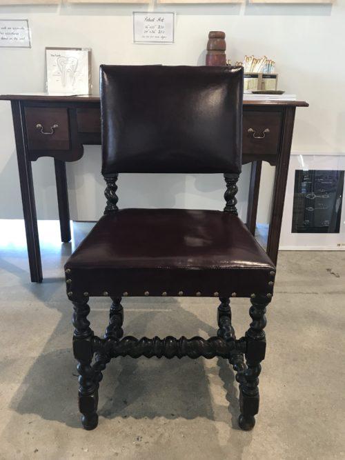 Burgundy Leather Twist Chair