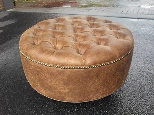 tufted vegan leather round ottoman