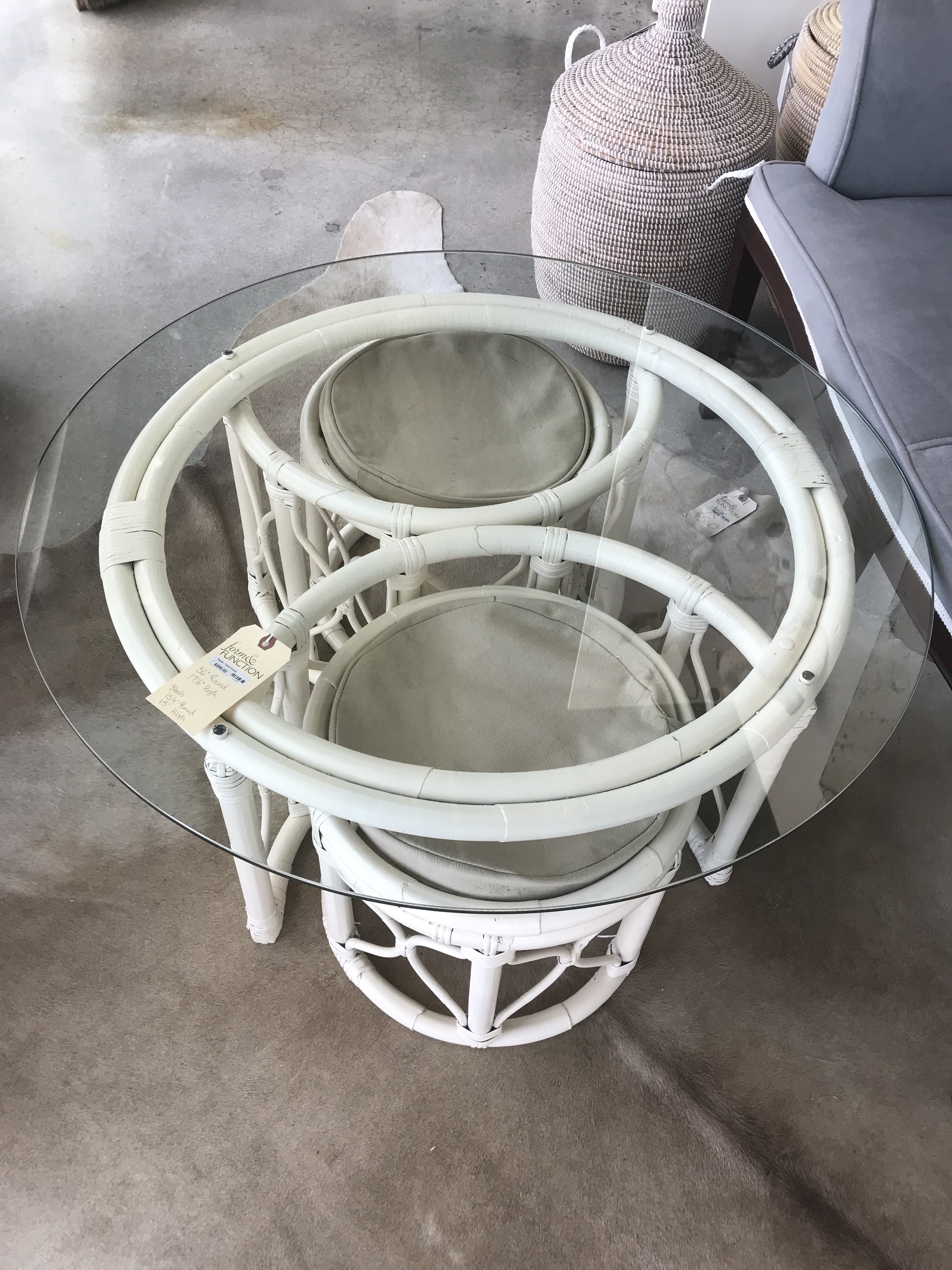 White Rattan and Glass Table with Stools