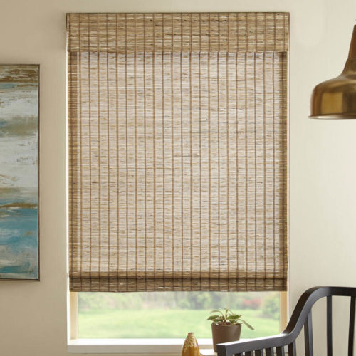 woven bamboo cordless window shades