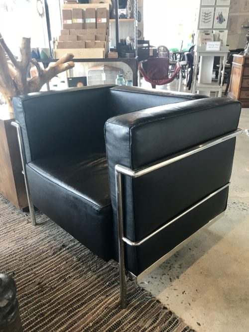 Black Chrome Chairs Pair