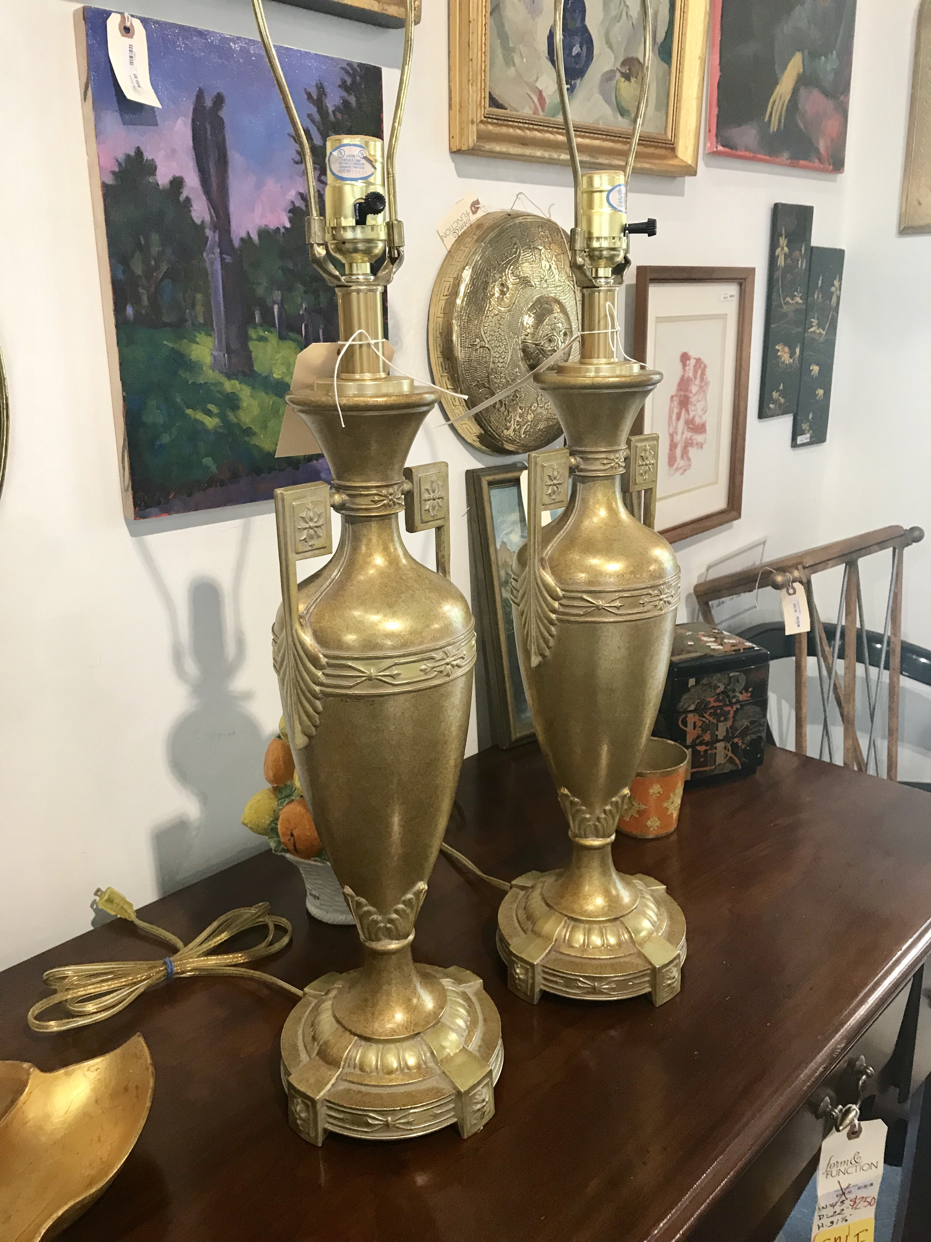 Gold Urn Lamps