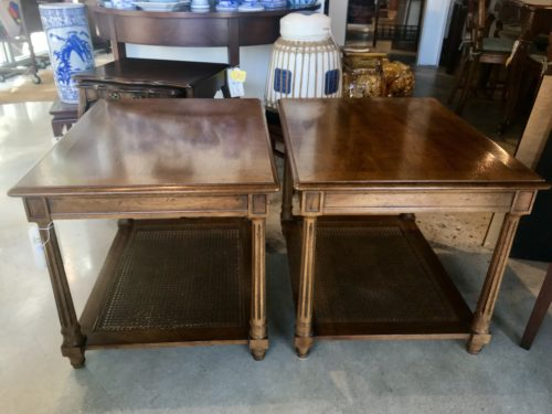 Henredon Cane Tables Pair