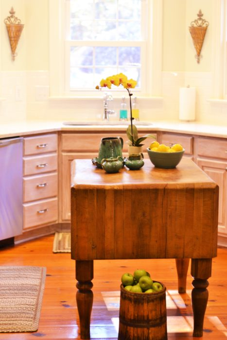 butcher block island vignette decor