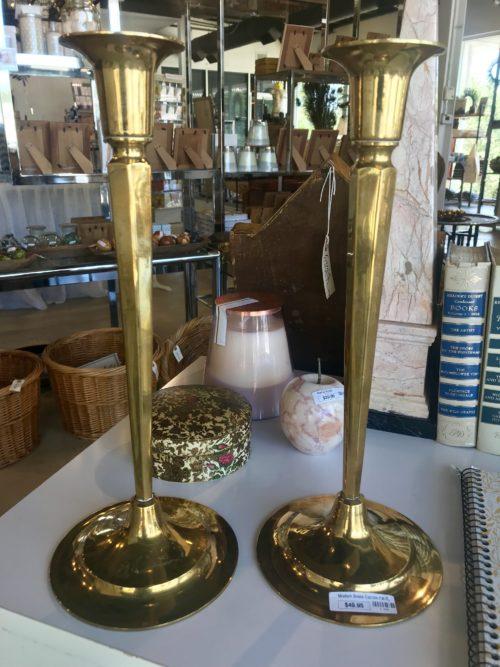 Pair of Modern Brass Candlesticks