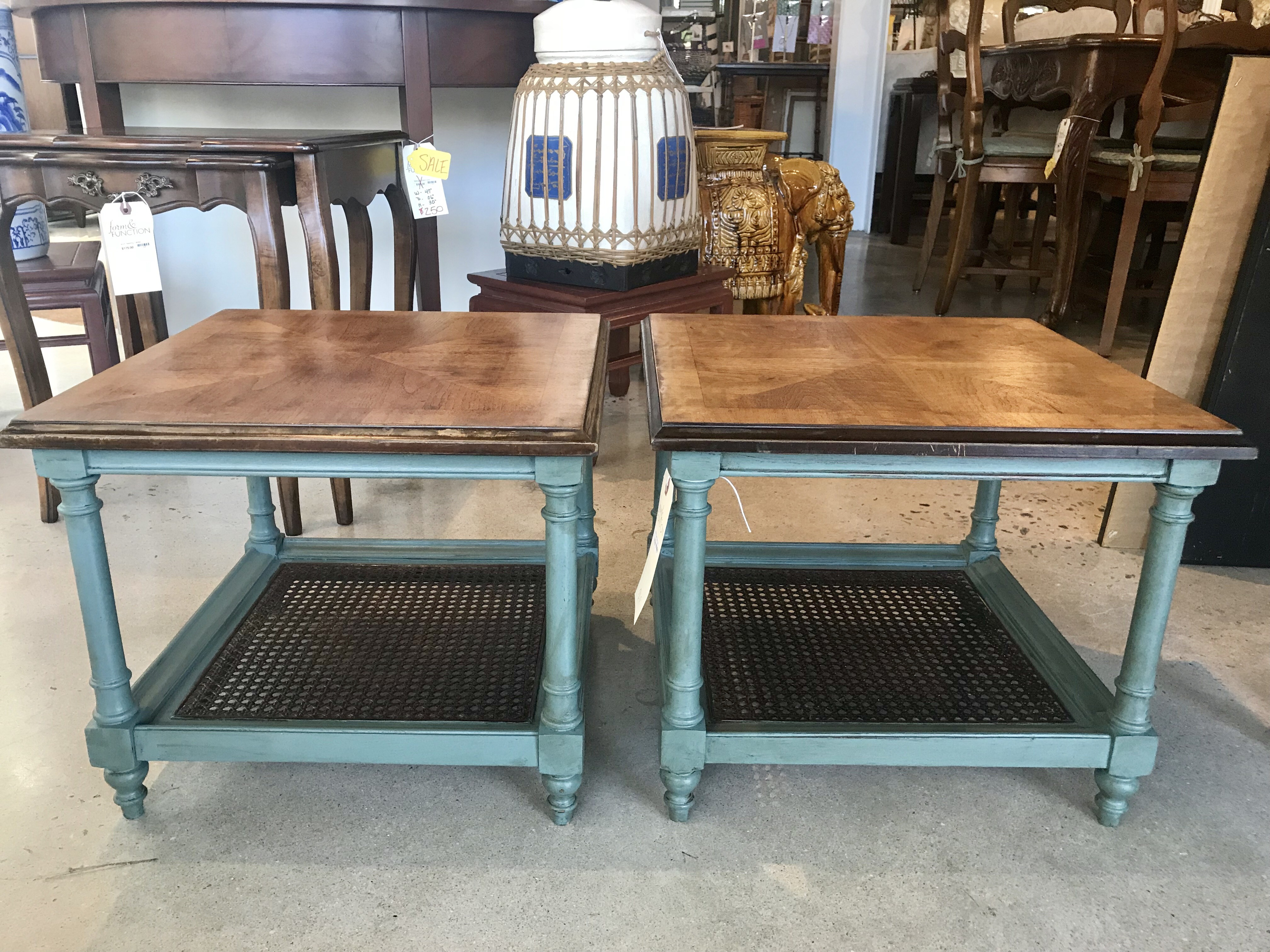 Painted Cane Side Tables