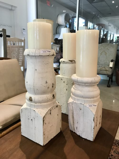 White Pillar Candle Holders