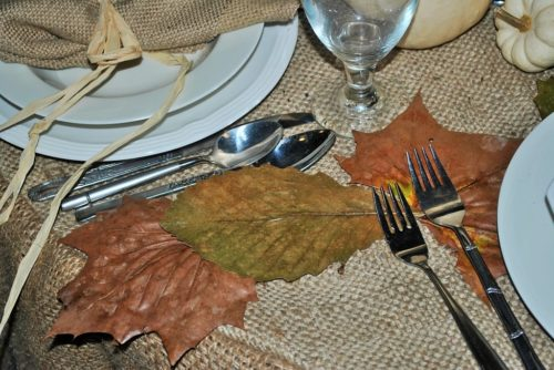 coffee sack tablecloth pressed ironed leaves