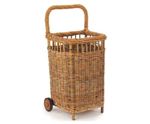 french rolling wicker basket cart