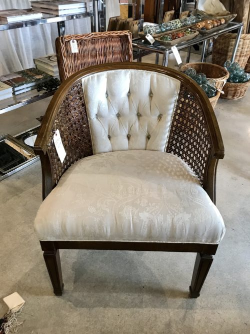 Cream Barrel Caned Chair