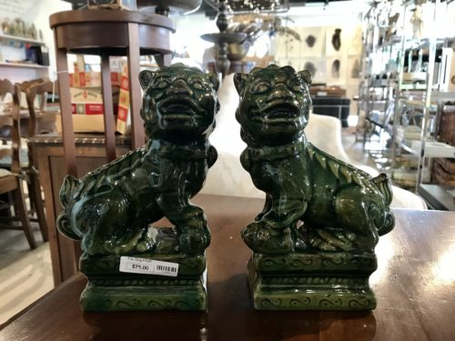 Green Foo Dog Pair